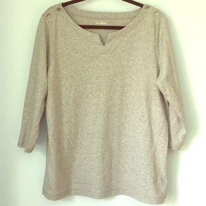 LL Bean Cotton Gray Tunic XL 3/4 Sleeve